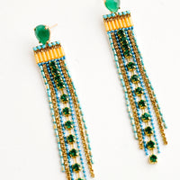 Emerald Multi: Jeweled earrings with green teardrop post and blue, gold and green dangling crystal strands