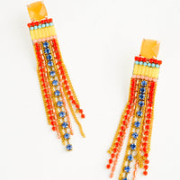 Yellow Multi: Jeweled earrings with yellow square post and red, gold and blue dangling crystal strands