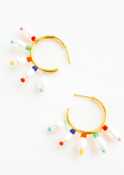 Gold, post-back hoop earrings adorned with freshwater pearls surrounded with colorful matte seed beads