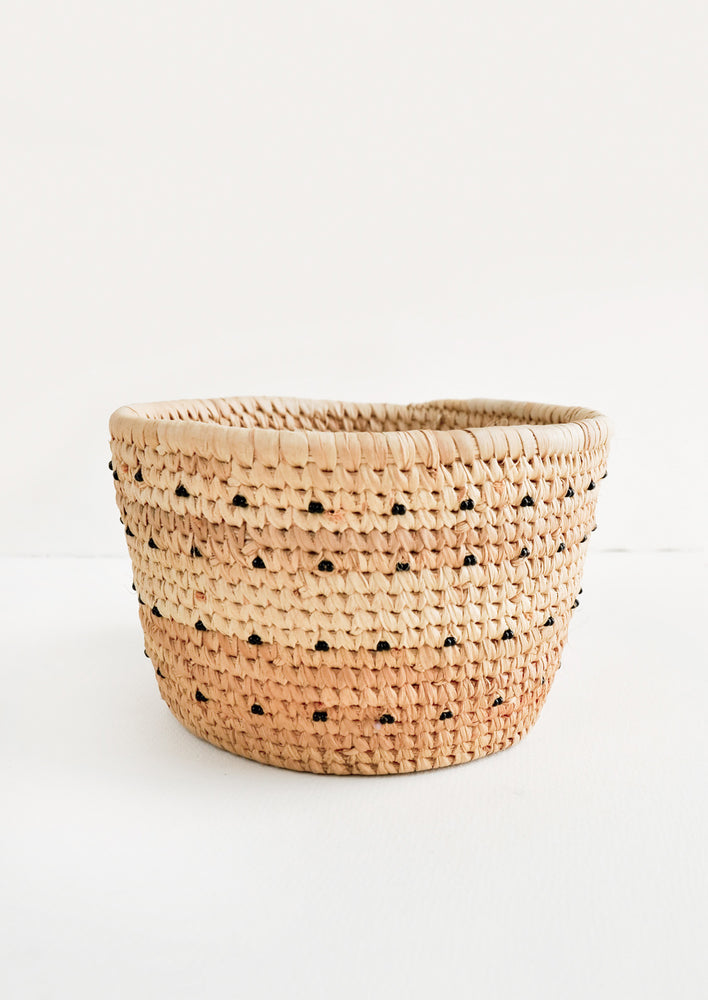 Black: Nomadic Palm Beaded Basket in Black - LEIF