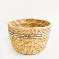 White: Nomadic Palm Beaded Basket in White - LEIF
