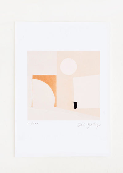 Fine art print featuring a mix of geometric shapes in neutral hues