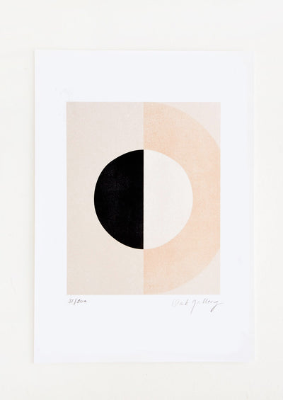 Art print in neutral palette featuring geometric half moon design