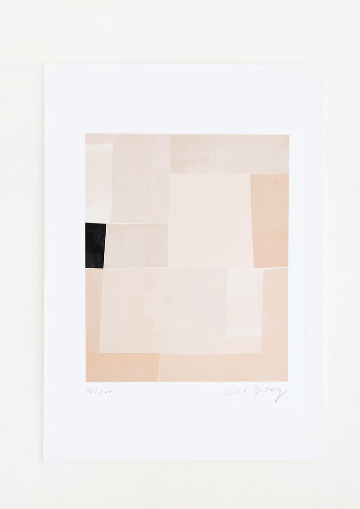 1: Fine art print with quilt-like pattern printed in neutral hues