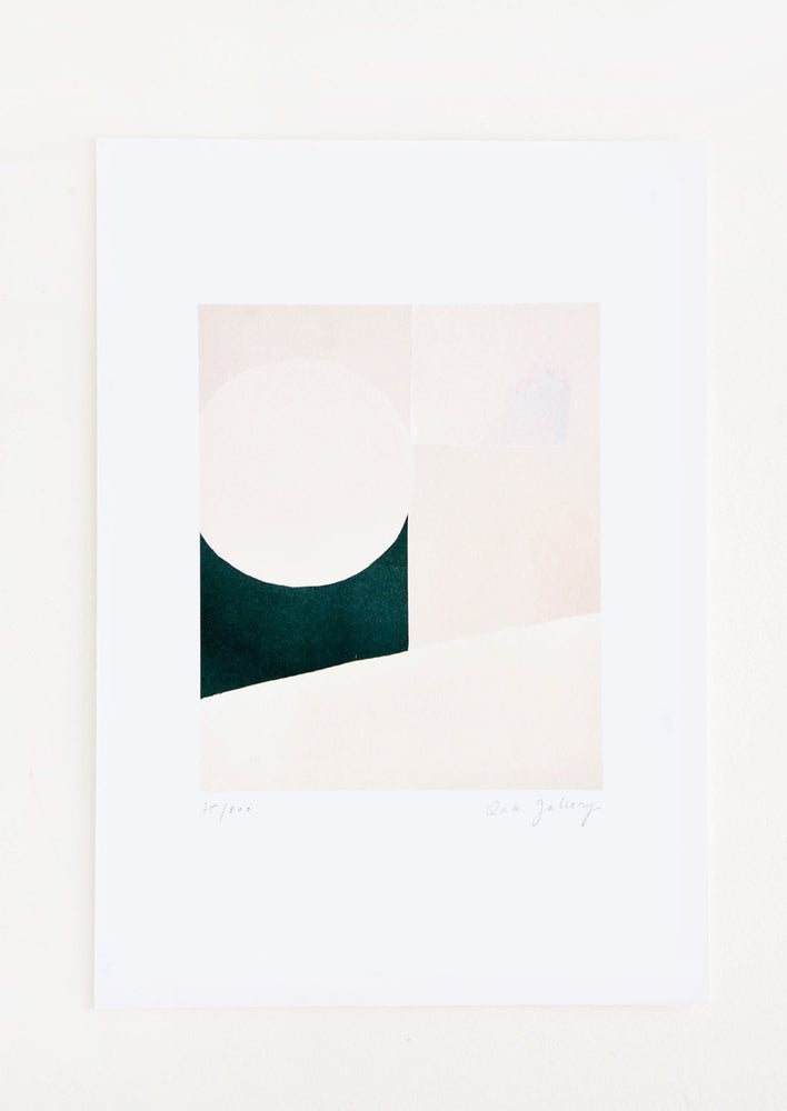 1: Minimalist abstract art print in pale colors and dark green