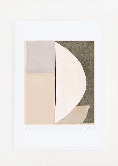 An abstract art print featuring a geometric composition in black, beige, ivory and lilac.