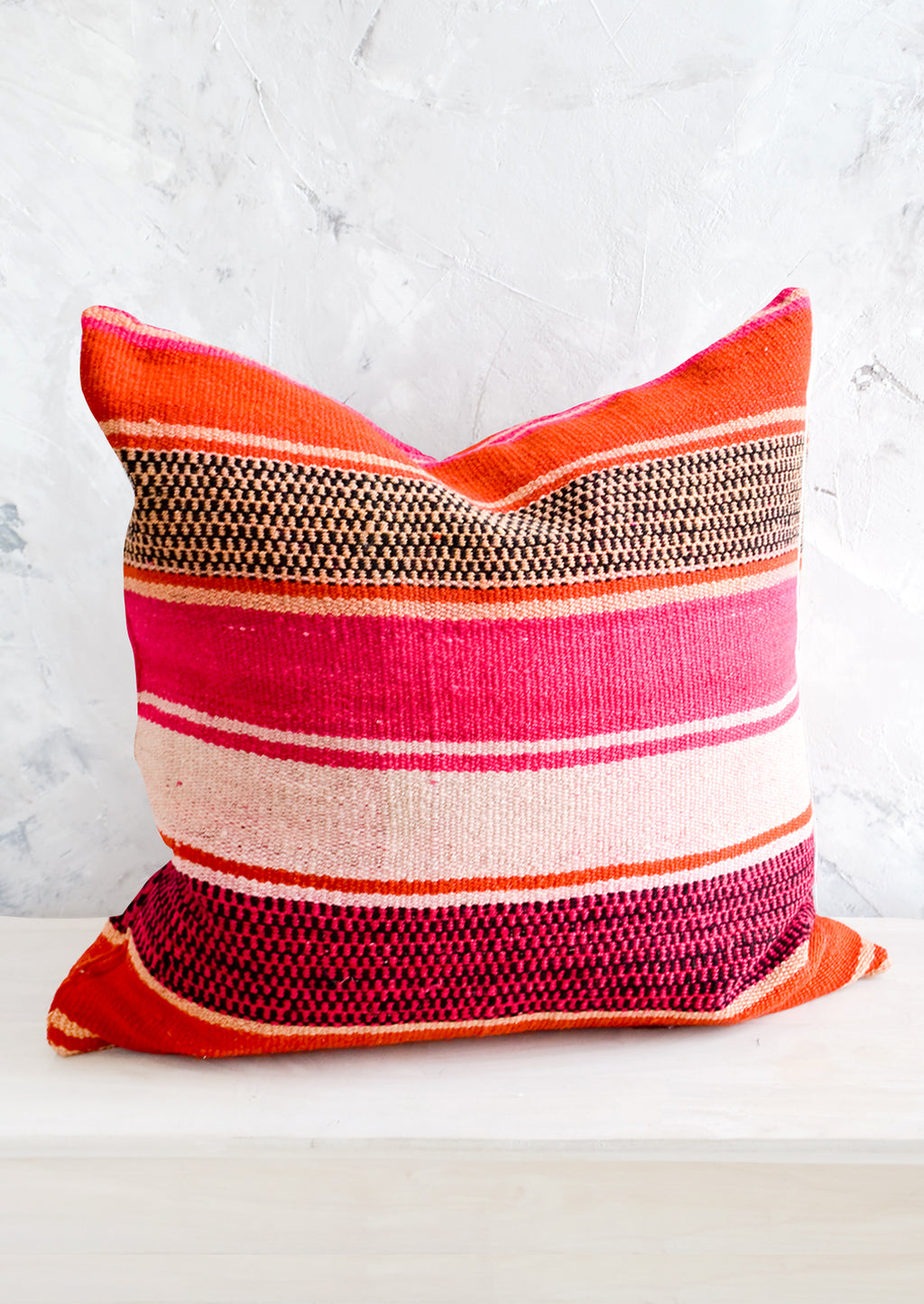 1: Throw pillow in orange, pink and peach striped vintage wool fabric