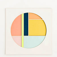 Neon Yellow Multi: Square artwork with off-white background and color blocked, laser-cut circle