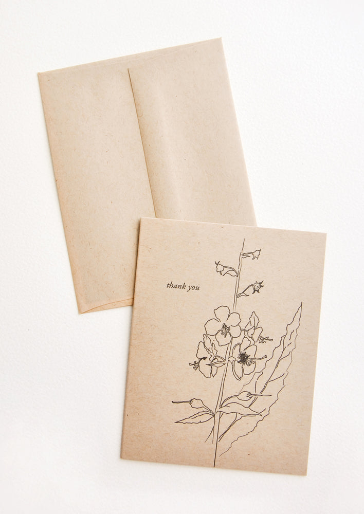 Kraft Floral Thank You Card