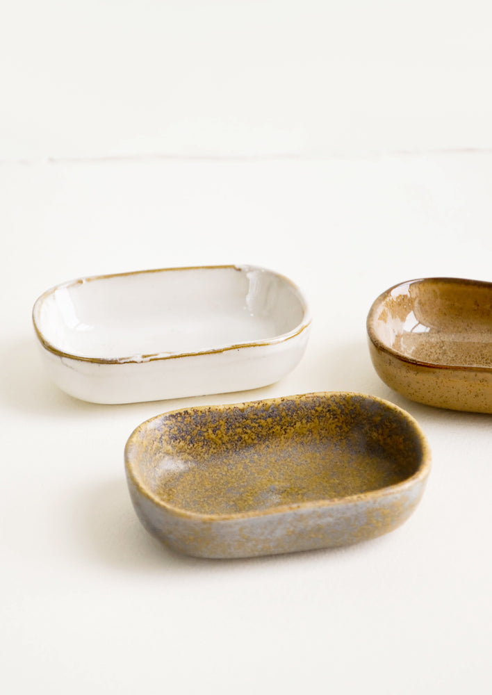2: Trio of glossy ceramic Sauce Dishes in Earth Tones.