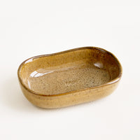 Carob Gloss / Mini Dish: Ceramic Sauce Dish in Glossy Brown.