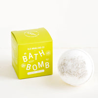 Seaweed & Sea Salt: White colored, round bath bomb with green box packaging