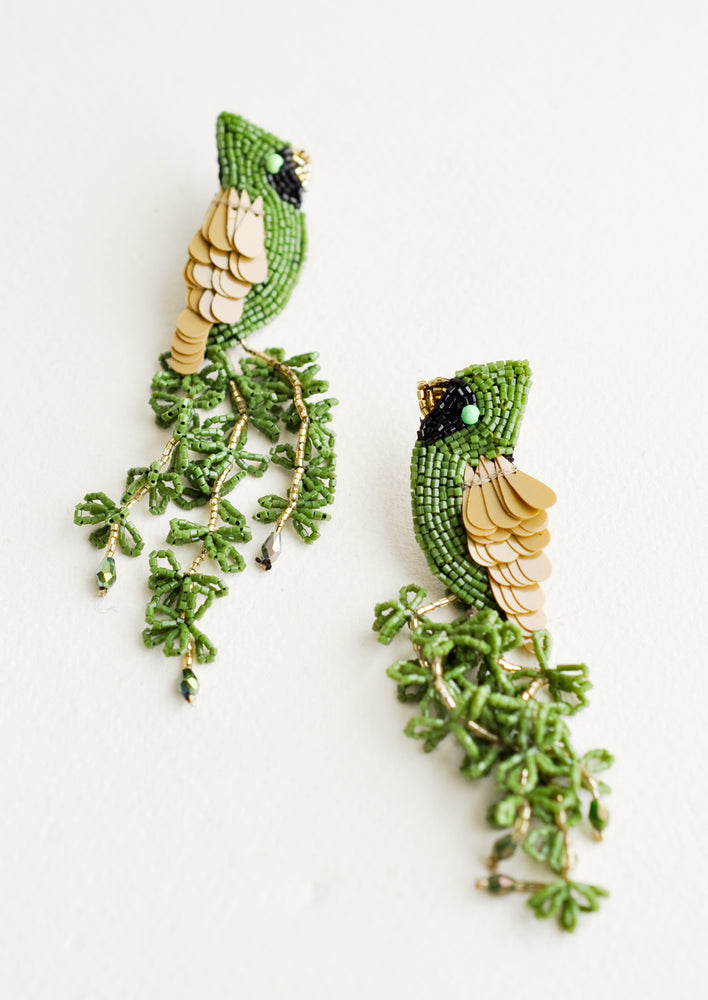 Green Multi: Cardinal Beaded Earrings in Green Multi - LEIF
