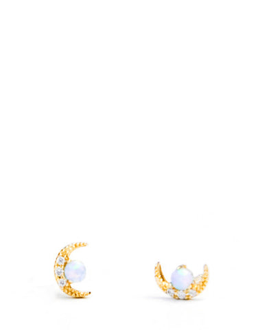 Opal Moon Stud Earrings