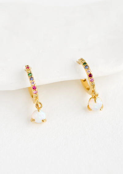 Opal Rainbow Huggie Earrings