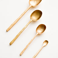 3: Modern Gold Metal Spoons in Various Sizes - LEIF