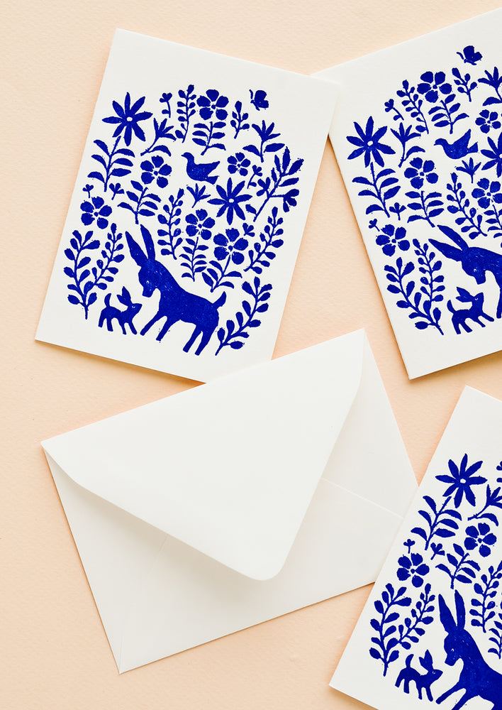 Boxed Set of 6: Three matching greeting cards with blue otomi printed fronts, with white envelope.