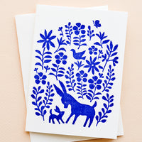 Single Card: A white greeting card with blue otomi print on front and a plain white envelope.