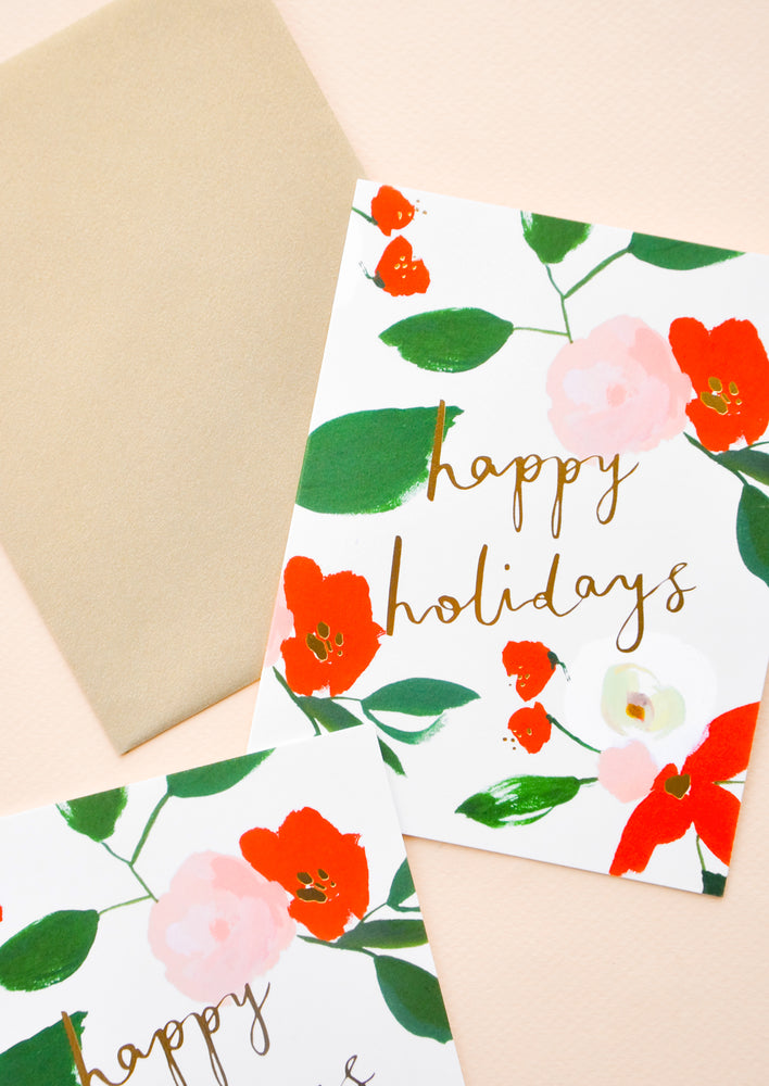 1: Floral Happy Holidays Card Set in  - LEIF