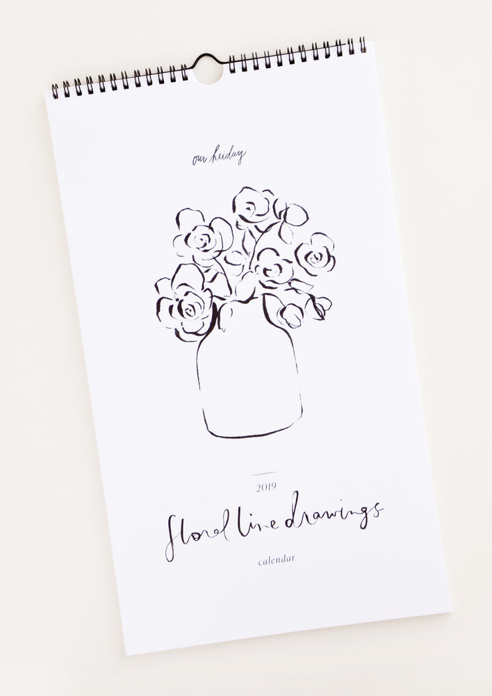 1: Floral Line Drawings 2019 Calendar in  - LEIF