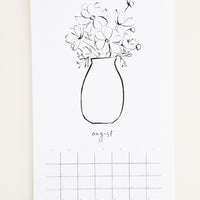 3: Floral Line Drawings 2019 Calendar in  - LEIF