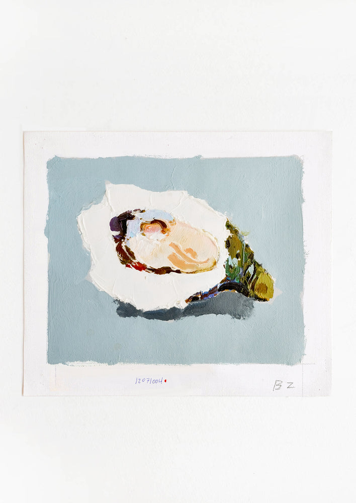 1: Original oil painting with still life image of a single oyster on a dusty blue background.