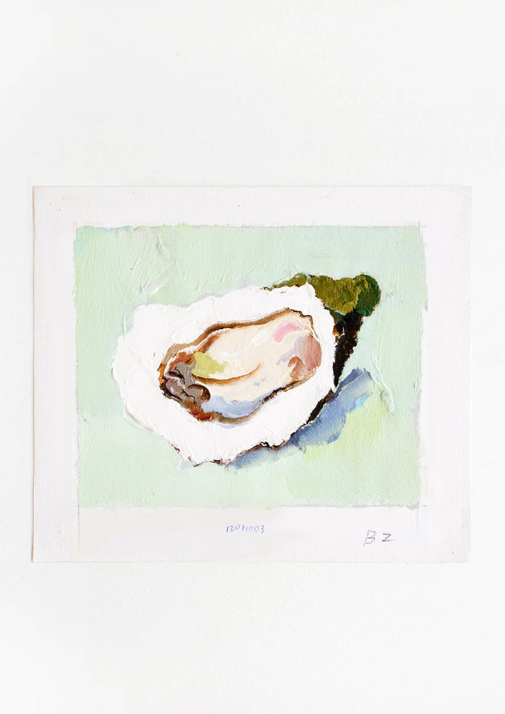 1: Original oil painting with still life image of a single oyster on a mint green background.