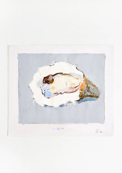 Original oil painting with still life image of a single oyster on a grey background.