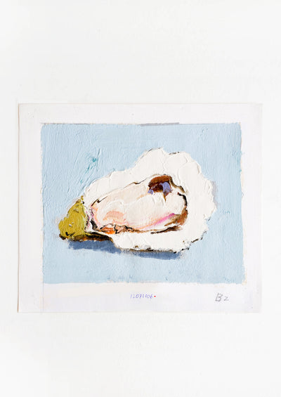 Original oil painting with still life image of a single oyster on a sky blue background.