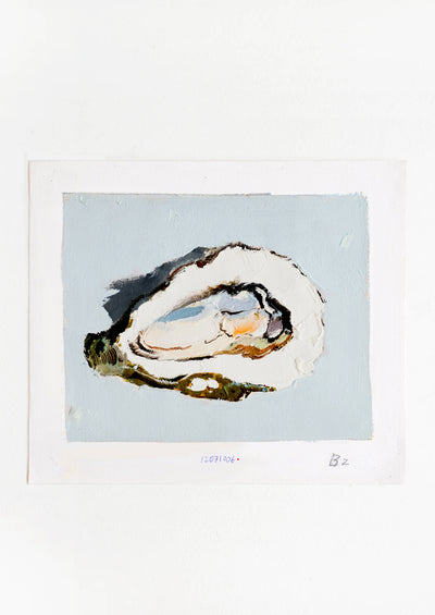 Original oil painting with still life image of a single oyster on a dusty blue background.