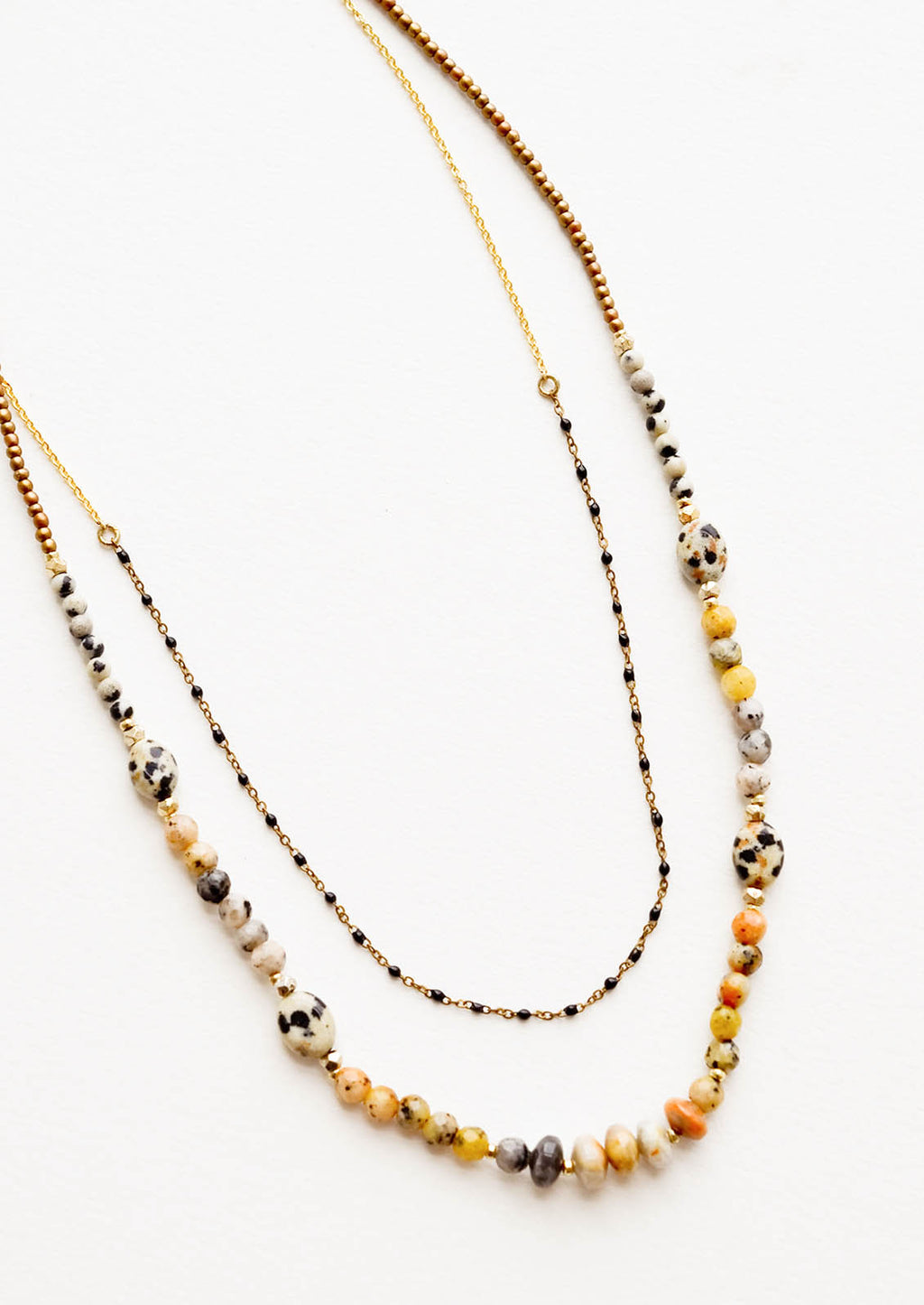 1: Layered beaded necklace with the shorter strand featuring gold chain alternating with black beads, and the longer chain featuring speckled dalmatian jasper beads.
