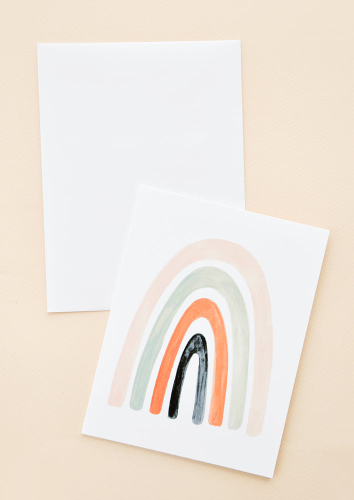 Painted Rainbow Blank Card in Peach - LEIF
