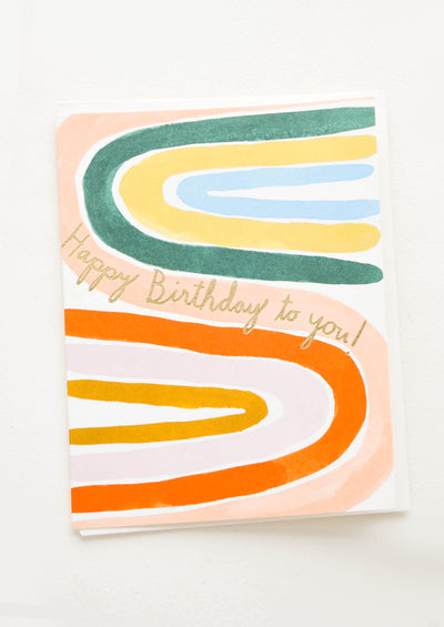 Birthday card with painted sideways rainbows in bright colors