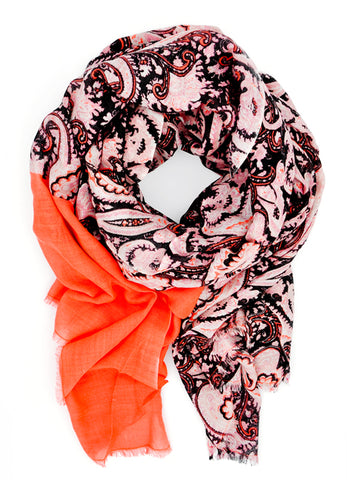 Paisley Flame Wool-Silk Scarf