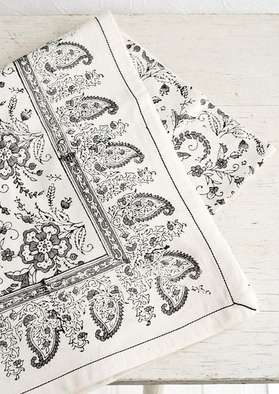 Paisley Bloom Block Print Tablecloth