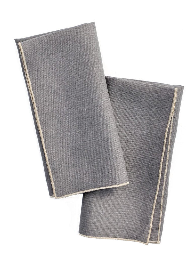 Smoke / Ash: Two-Tone Palette Linen Napkin Set in Smoke / Ash - LEIF