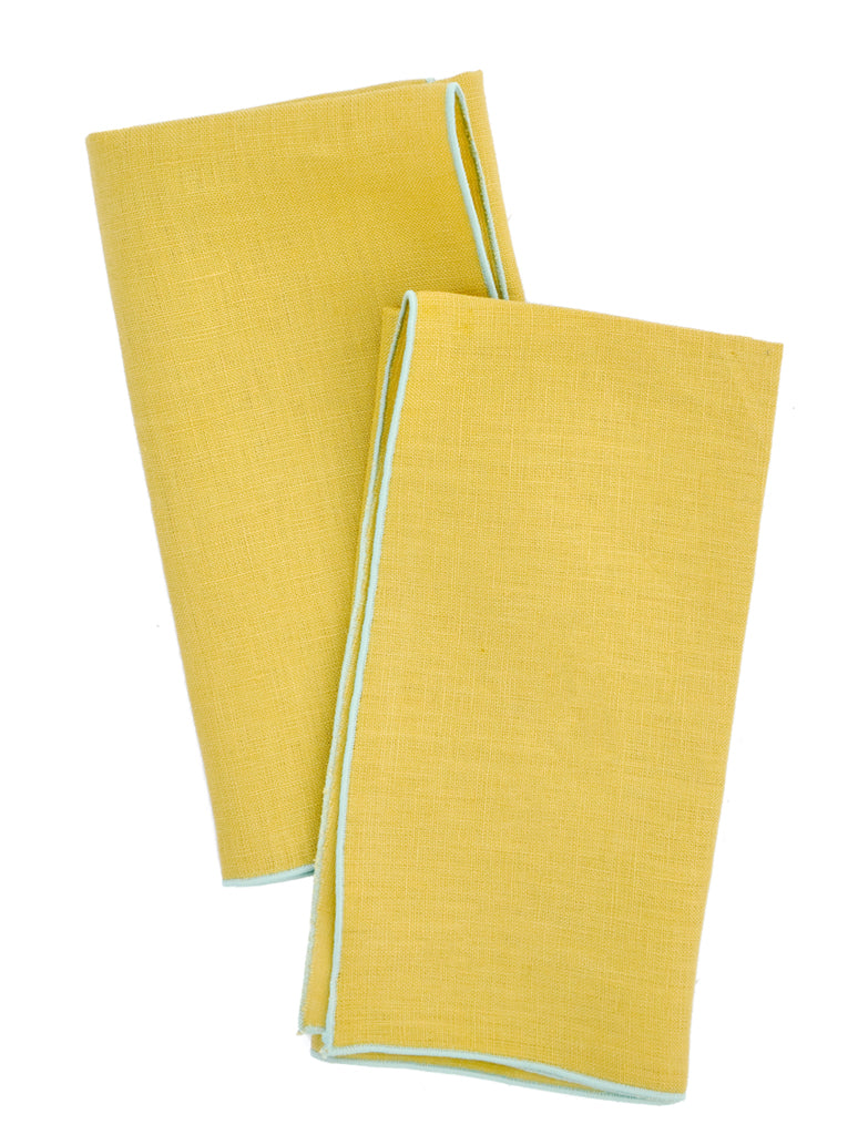 Rind / Seaglass: Two-Tone Palette Linen Napkin Set in Rind / Seaglass - LEIF