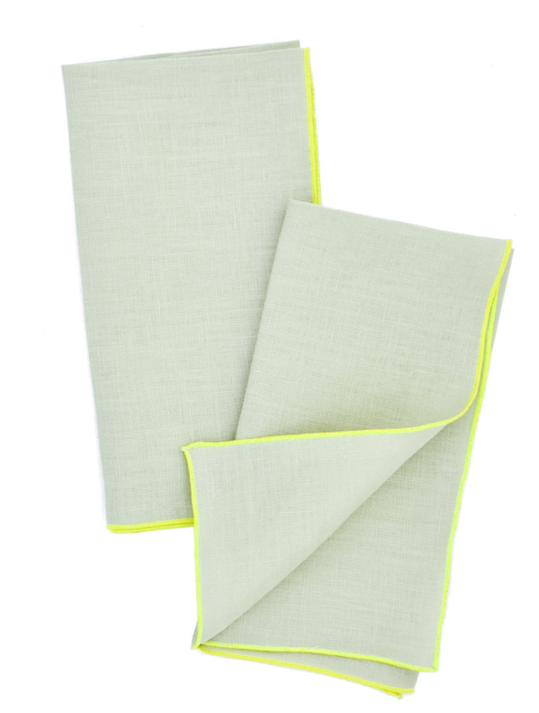 Mint / Fluoro: Two-Tone Palette Linen Napkin Set in Mint / Fluoro - LEIF