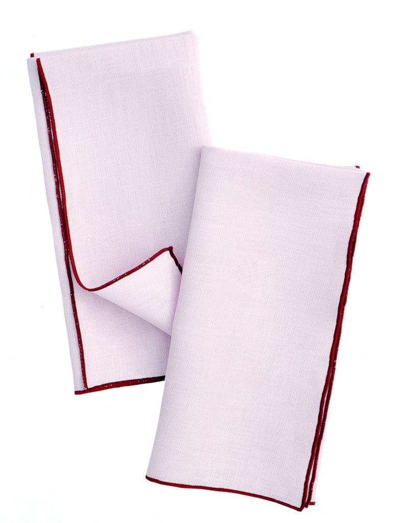 Thistle / Garnet: Two-Tone Palette Linen Napkin Set in Thistle / Garnet - LEIF