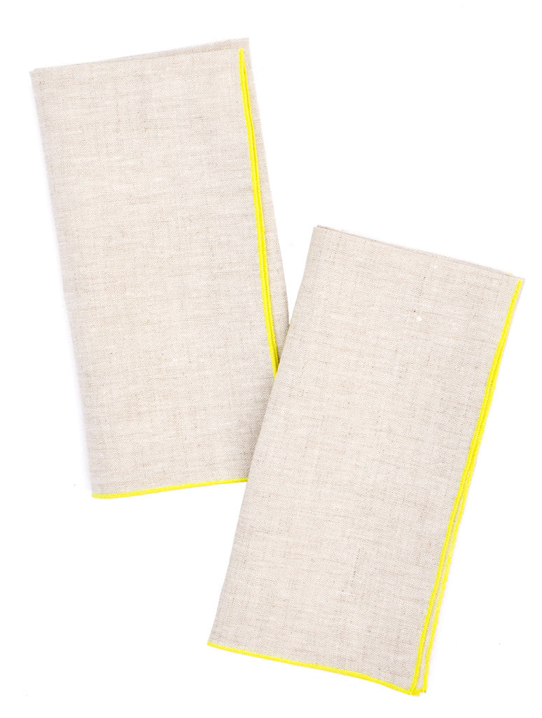 Wheat / Fluoro: Two-Tone Palette Linen Napkin Set in Wheat / Fluoro - LEIF