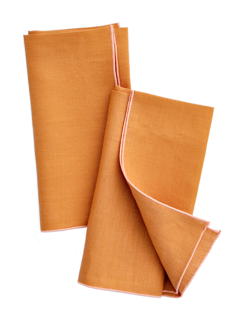 Whiskey / Blossom: Two-Tone Palette Linen Napkin Set in Whiskey / Blossom - LEIF