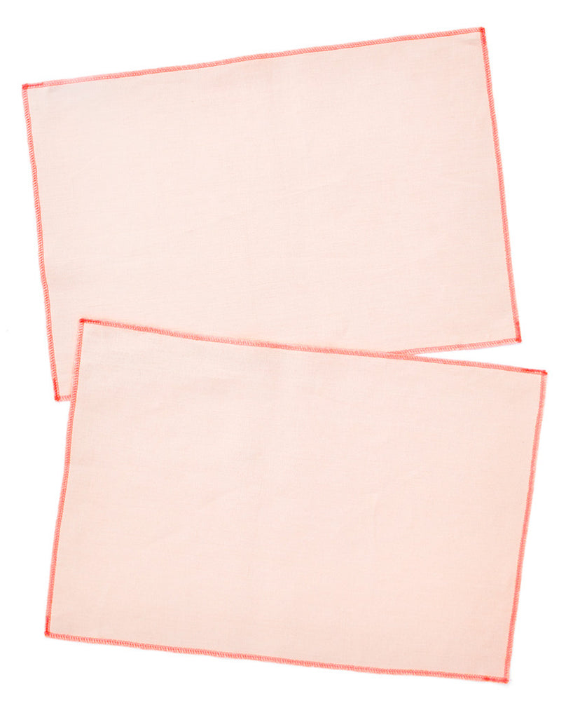 Apricot / Fluoro Red: Palette Linen Placemat Set - LEIF