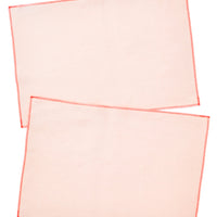 Apricot / Fluoro Red: Palette Linen Placemat Set in Apricot / Fluoro Red - LEIF