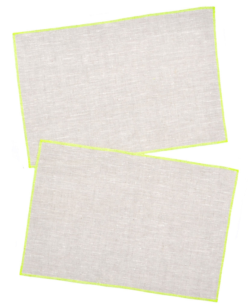 Oatmeal / Fluoro Yellow: Palette Linen Placemat Set in Oatmeal / Fluoro Yellow - LEIF