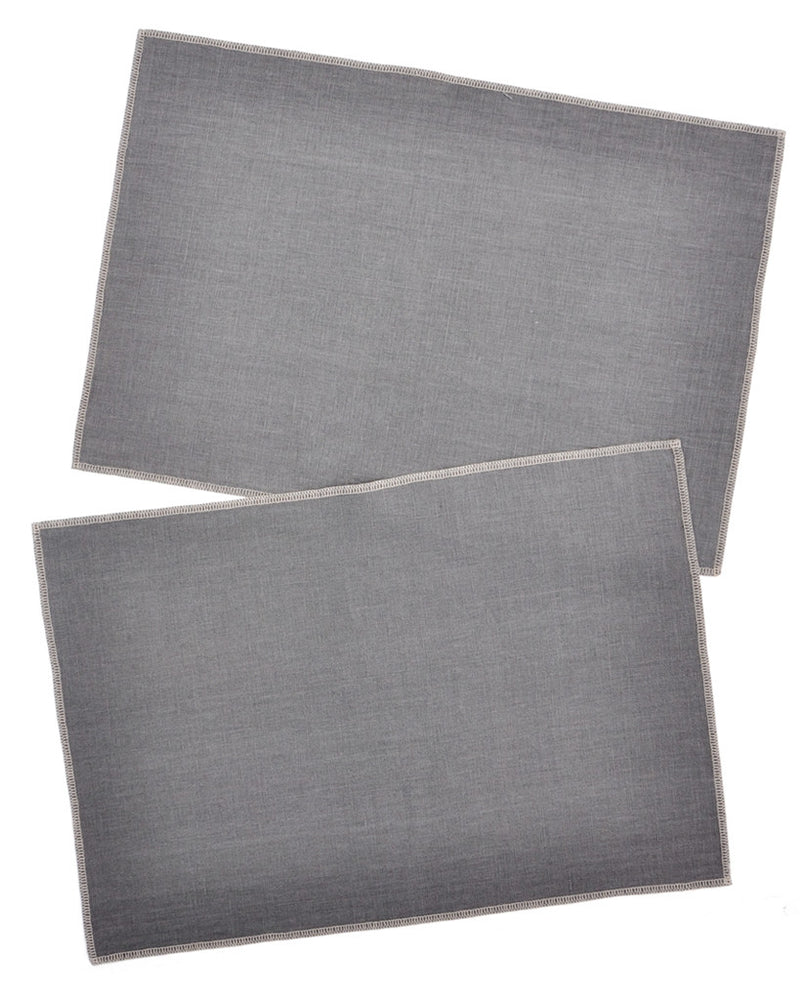 Smoke / Ash: Palette Linen Placemat Set in Smoke / Ash - LEIF
