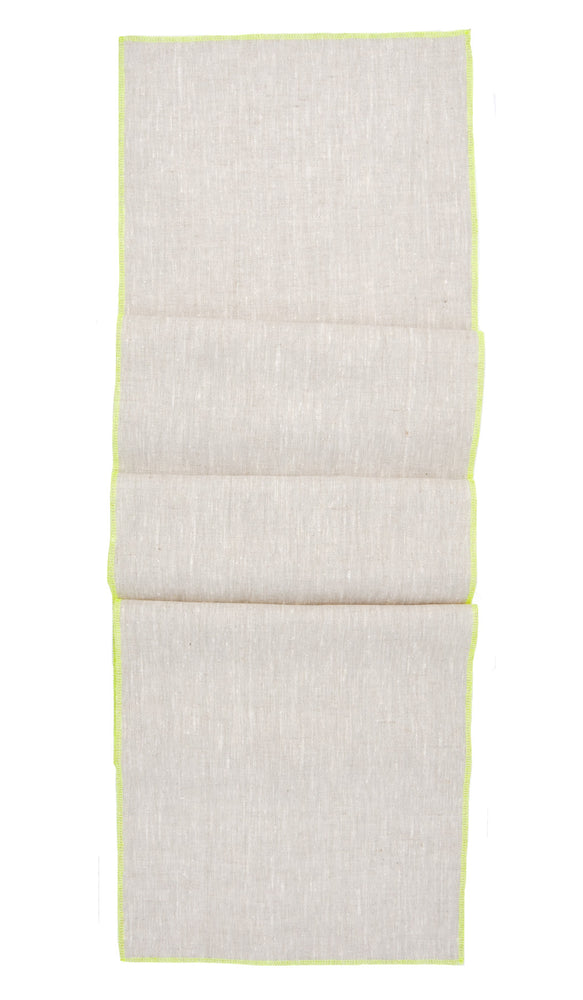 Oatmeal / Fluoro Yellow: Palette Linen Table Runner in Oatmeal / Fluoro Yellow - LEIF