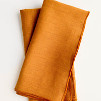 Caramel: Pair of folded linen napkins in caramel brown with tonal trim
