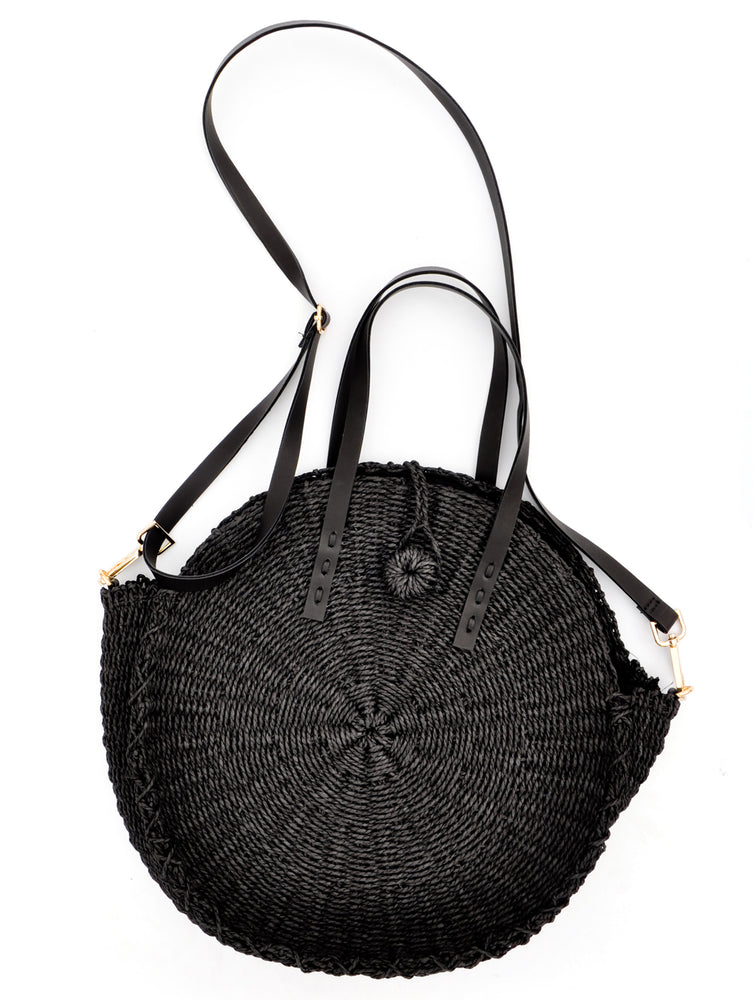 Black: Palisades Raffia Crossbody Bag in Black - LEIF