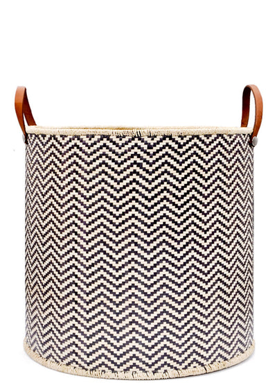 Palm Leaf & Leather Storage Bin - LEIF