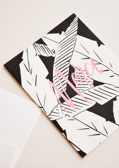 Palm Leaves Merci Card hover